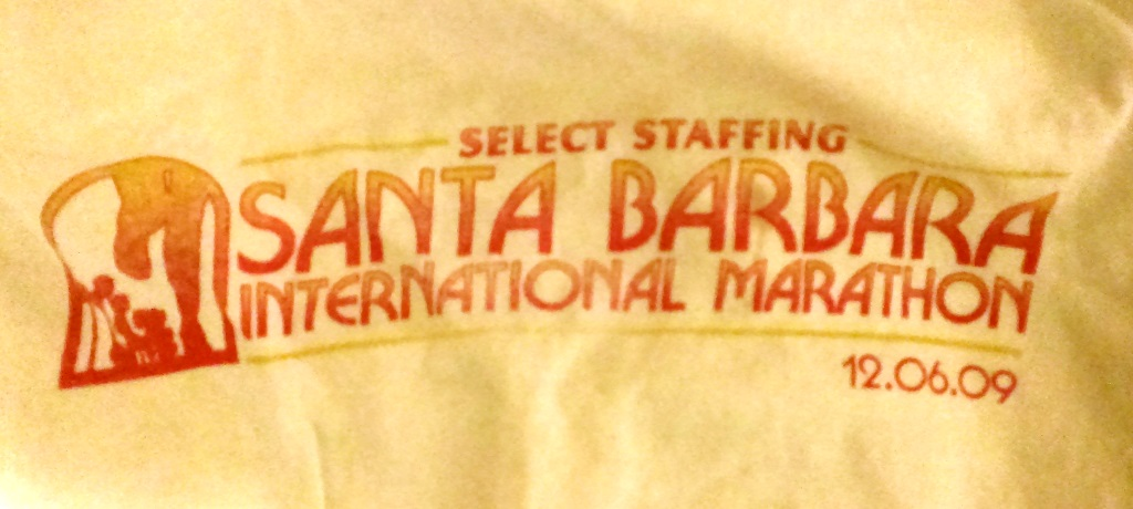 My inaugural Santa Barbara International Marathon t-shirt is still around, though getting a bit dingy.