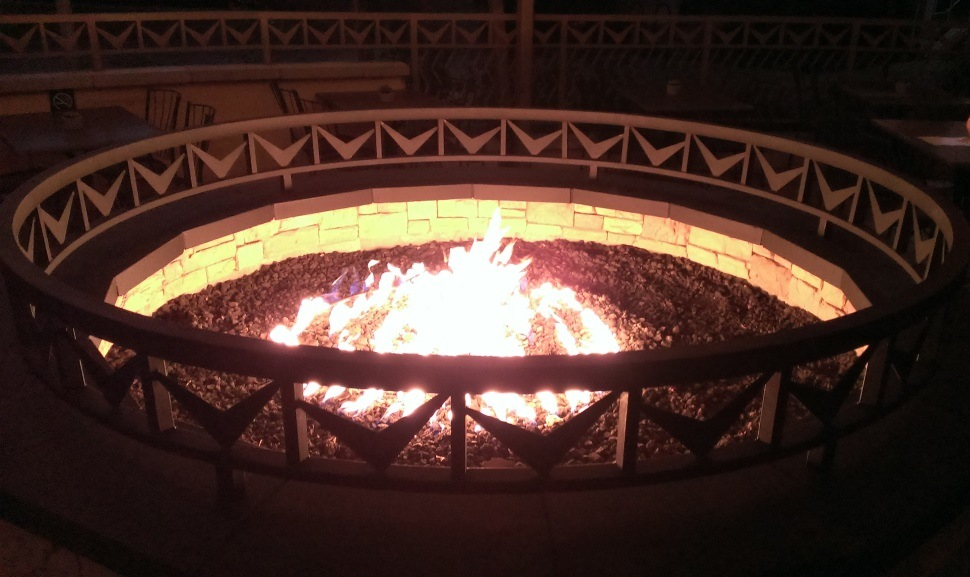 Nice, large outdoor fire pit at Industry Bar & Grill