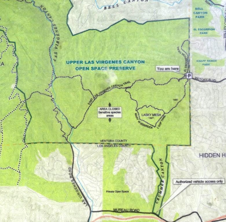 Excerpt of map posted at the Victory Trailhead