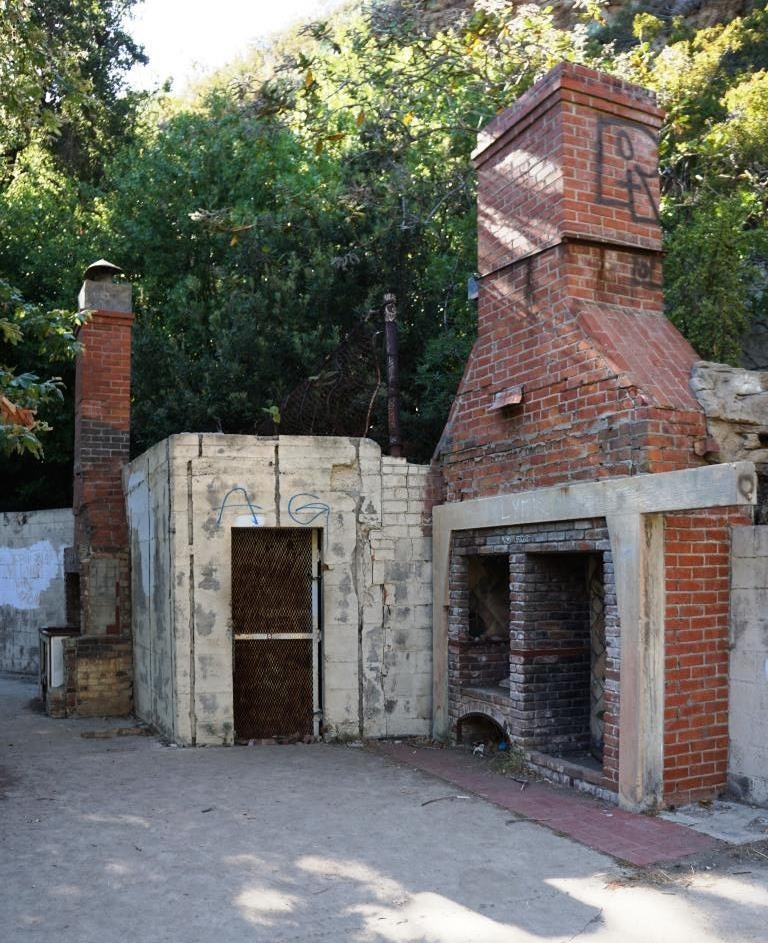 Remains of the home of Fred and Florence Roberts at the top of Solstice Canyon
