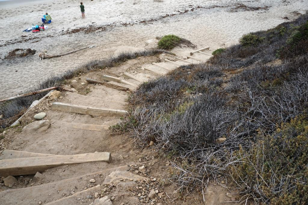 Bottom half of the steps from the parking lot to El Pescador Beach.