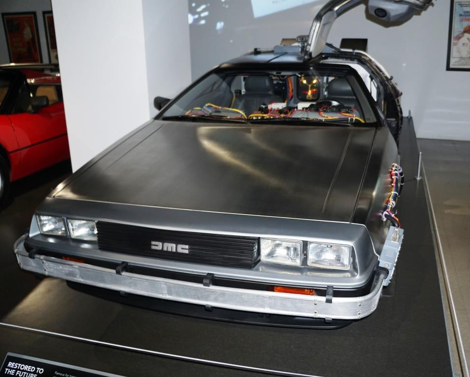 The kids were excited to see this  Back to the Future  car at the Petersen,