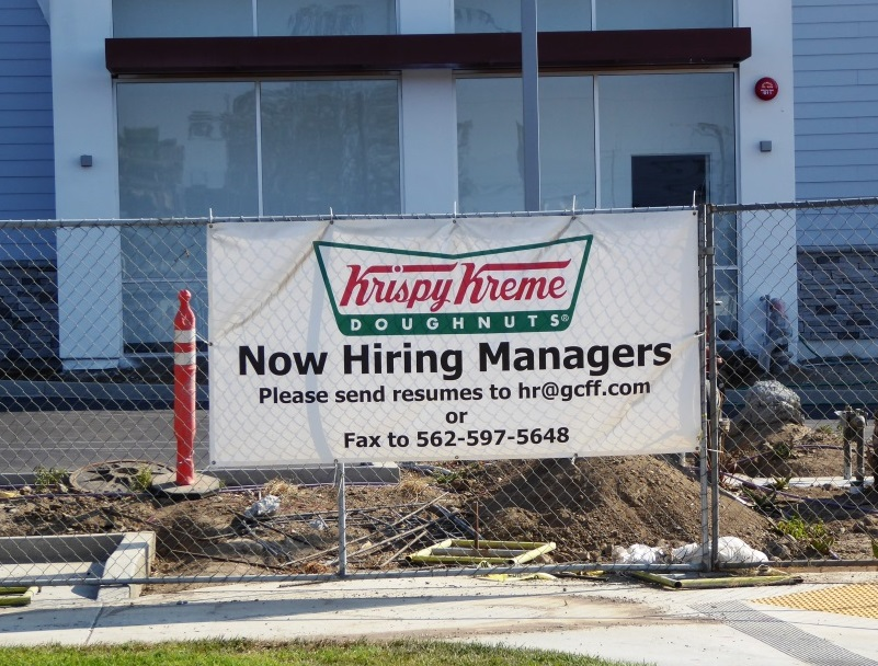 Now hiring managers at Krispy Kreme. I don't know about you, but I'd work for donuts!