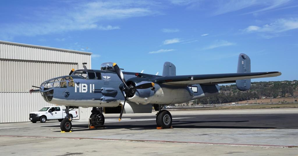 The only authentic Marine BPJ-1J variant of the famed Mitchell B-25 Bomber. It flew into Camarillo from Midland, TX in 1993 for a 20 year restoration project. It is now flight-ready!