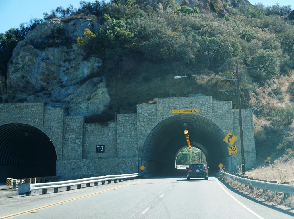 One of three tunnels on Kanan Dume Road in Malibu. This one is called T-3. (Clever, eh?)
