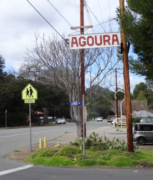 The old Agoura sign on Agoura Road at Lewis Road.