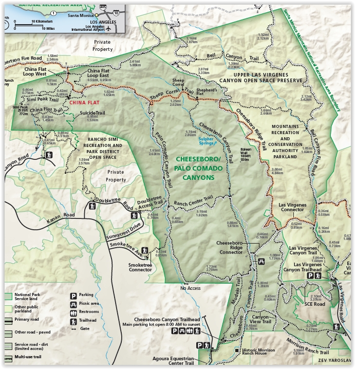 Excerpt of Cheeseboro/Palo Comado Canyon Map (Courtesy National Park Service)