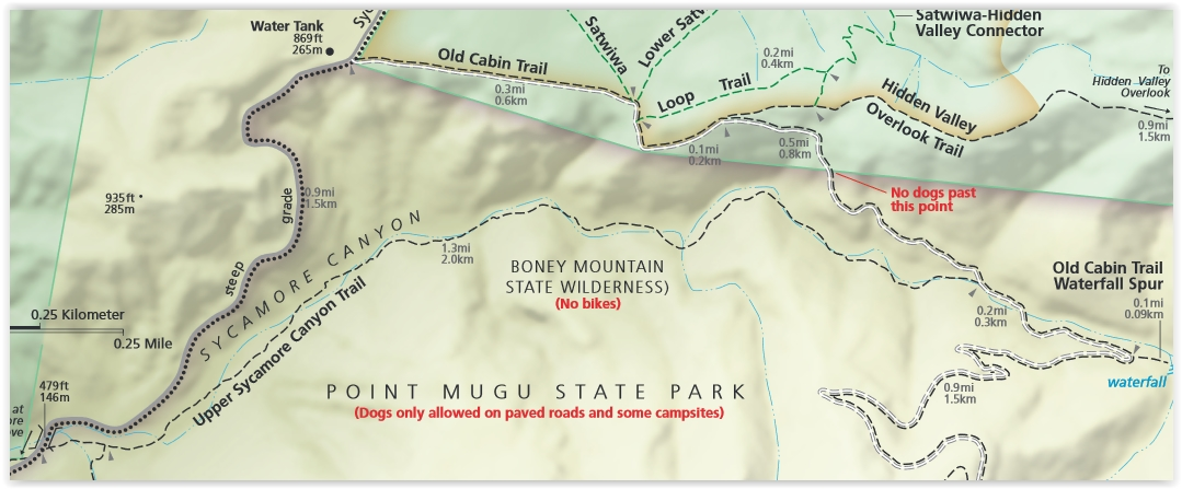 Upper Sycamore Canyon Trail (Map excerpt courtesy of National Park Service)