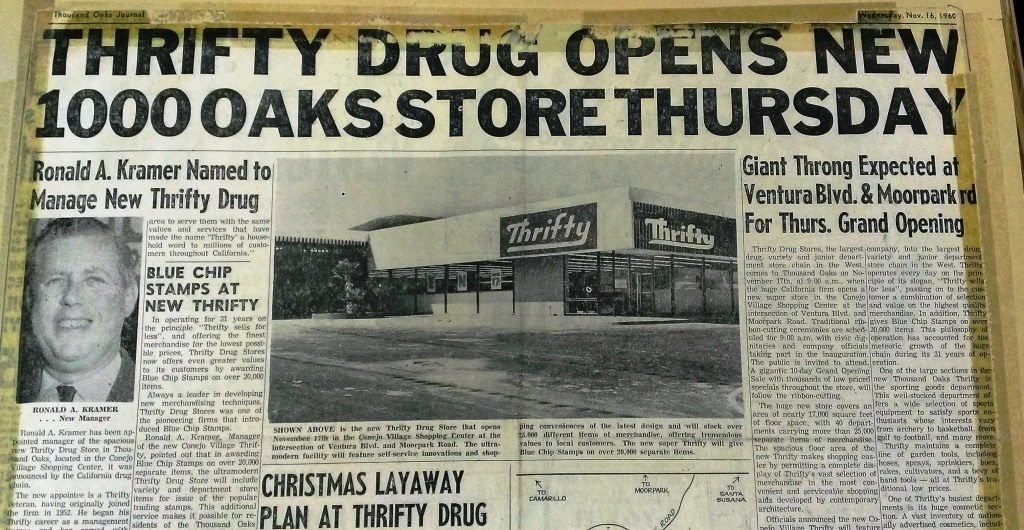 The ULTA Beauty store will bring a completely new look to the east side of Janss Marketplace. Shown above is the original tenant of this space; Thrifty Drug Store, in November 1960.