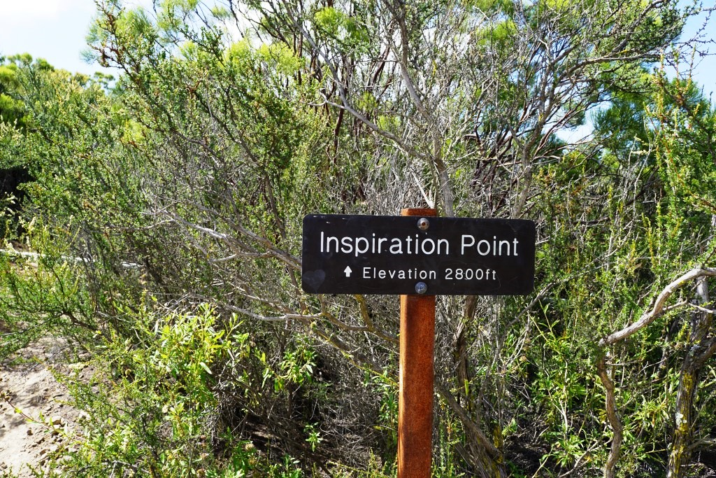 Sign on the Backbone Trail towards Tri Peaks signifying you are at the Inspiration Point spur trail. Sign indicates 2,800 ft elevation though I've read it is actually 2,766 ft. Close enough.