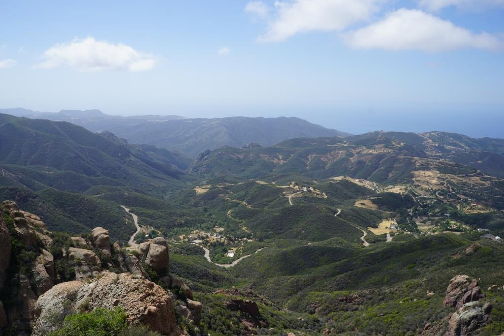 The view from Inspiration Point towards the ocean. The road below is Yerba Buena.