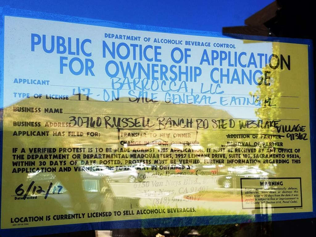 Sign indicated applicant, Barrocca, LLC, has filed for a transfer of liquor license.