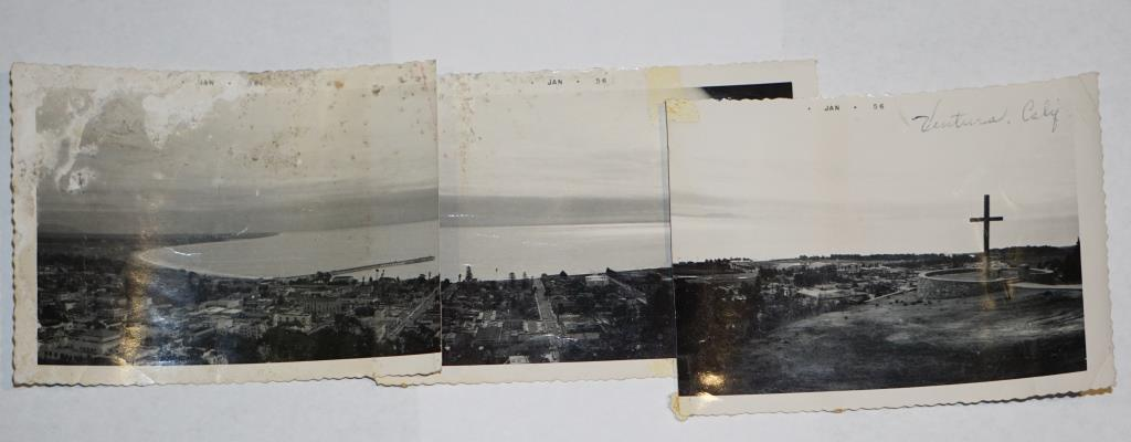 Panoramic view from Grant Park in Ventura in three photos taken in January 1956.