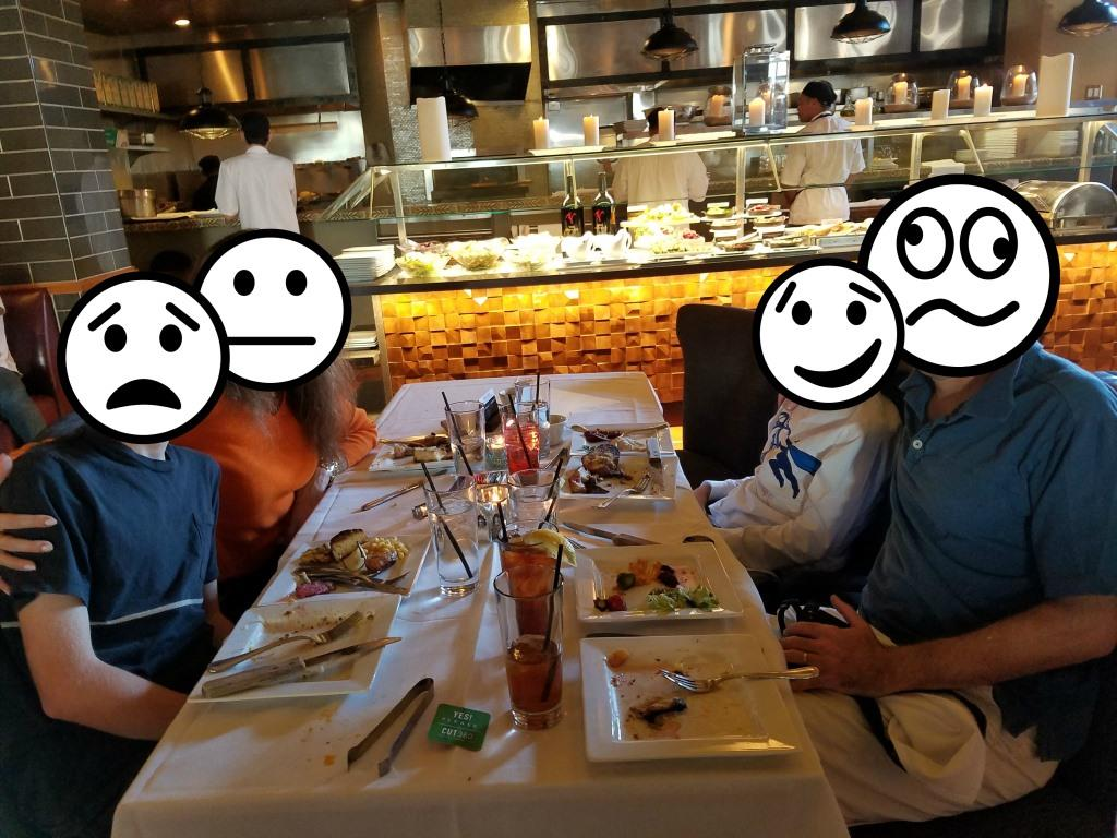 Enjoying their meal at Cut 360, then hearing the news it was closing.
