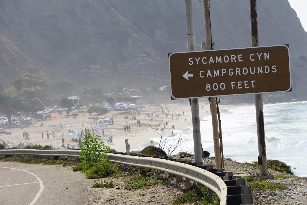 Sycamore Cove Beach in the background. Sycamore Canyon Campground entrance on left.