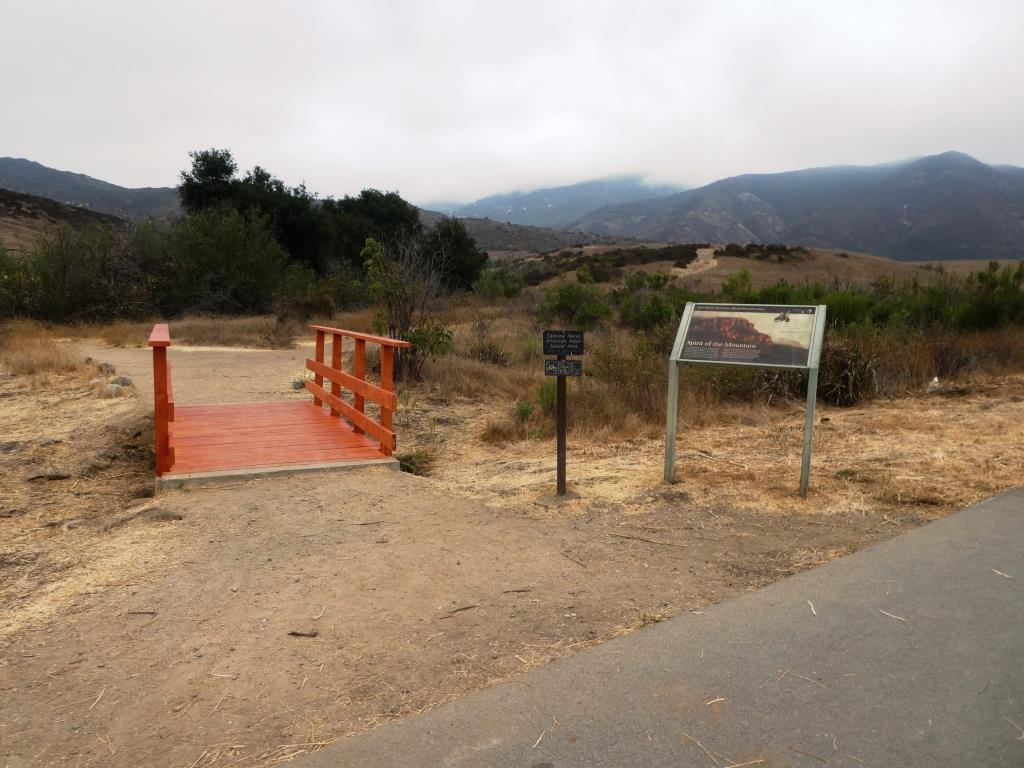 This is the bridge heading the other direction from the Ranch Overlook Trail sign leading to the Satwiwa Native American Indian Culture Center.