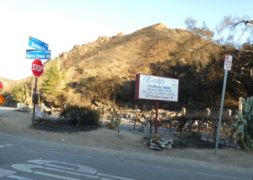 Kristy's Roadhouse Malibu and SIP Malibu at the corner of Kanan and Sierra Creek Road were destroyed by the Woolsey Fire.