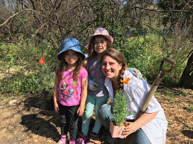 Families enjoy planting pollinator plants at Ventura Land Trust's Big Rock Preserve during Monarch Madness.