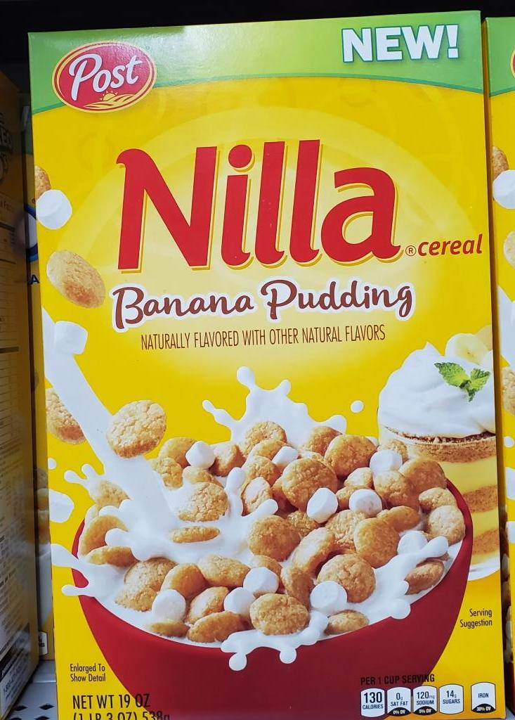Nilla Cereal is based on Nilla Waters, with the flavor of banana pudding. This was launched in 2018, along with Golden Oreo O's Cereal.