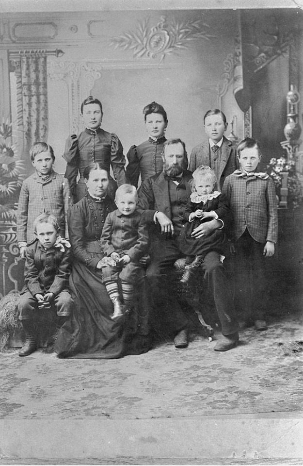This is an undated photo from Thousand Oaks Library archives. Pictured: Back row: Caspar, Rosa, Mary, and Leo. Middle row: Frank, Theresa Maring, holding Charles, Caspar holding Theresa, Antone.