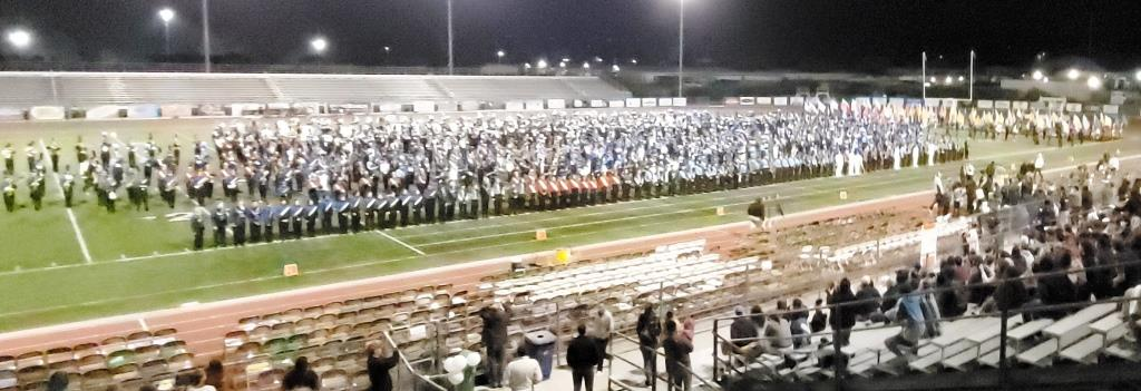 That's a lot of band members together on the field at Thousand Oaks High School!