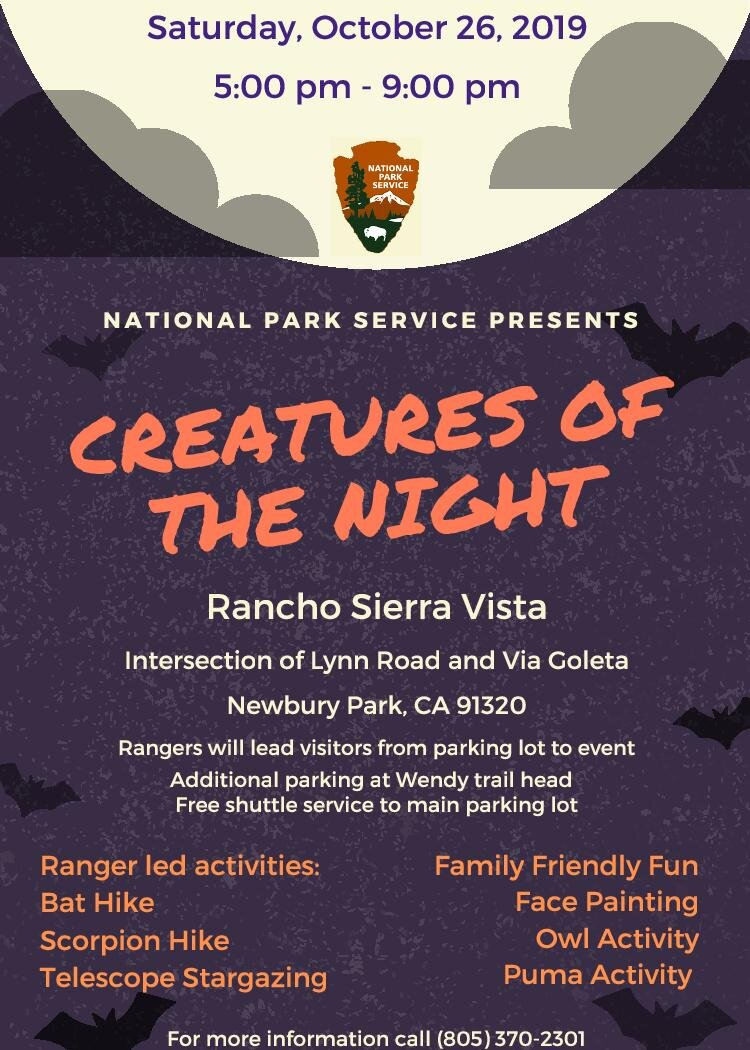 """Creatures of the Night"" Annual Halloween Event at Rancho Sierra Vista in Newbury Park on October 26th"