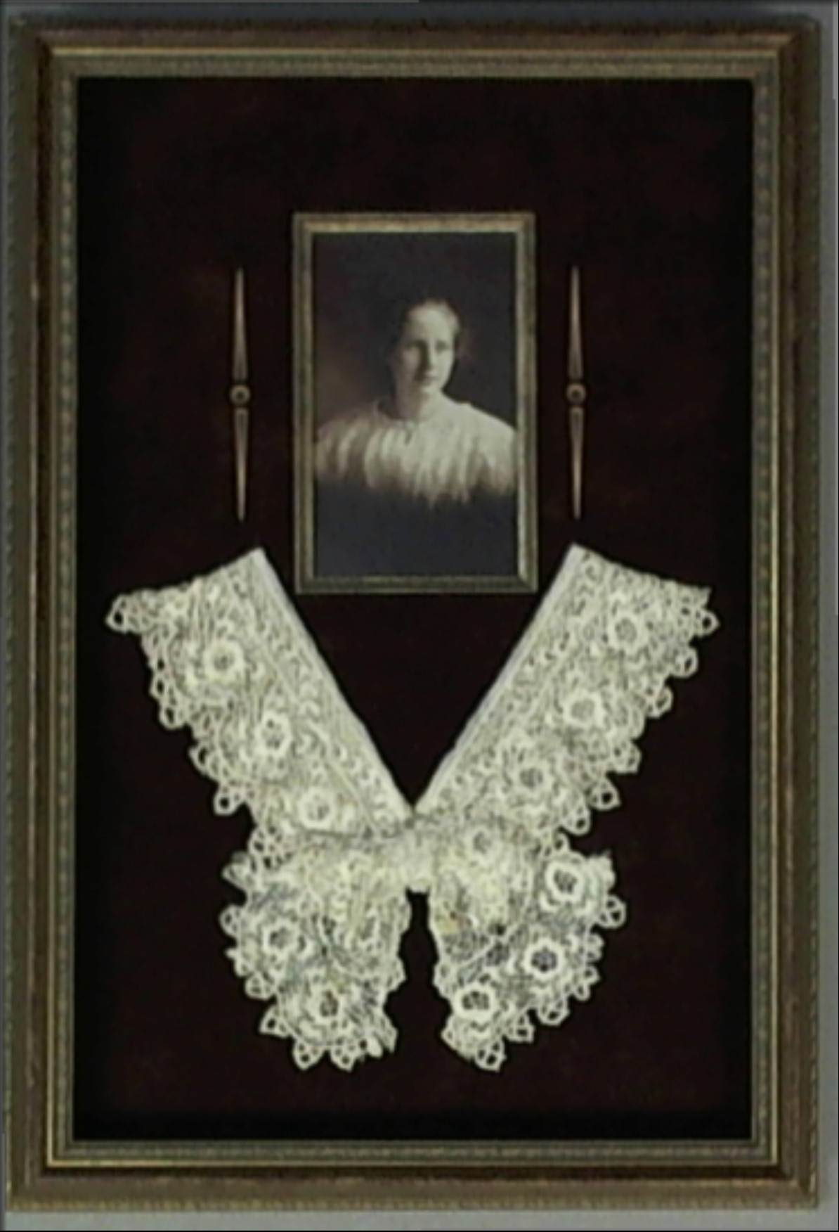 shadowbox ideas - framed antique family photo with crochet collar