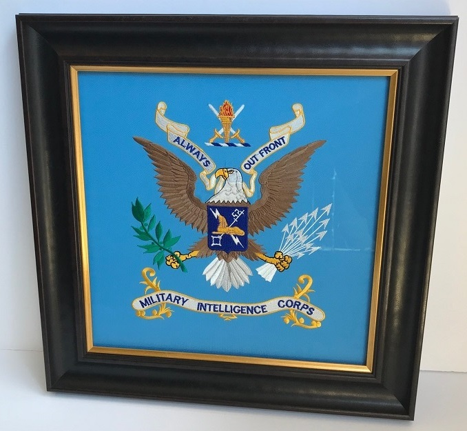 FRAMED MILITARY INTELLIGENCE CORPS EMBROIDERY