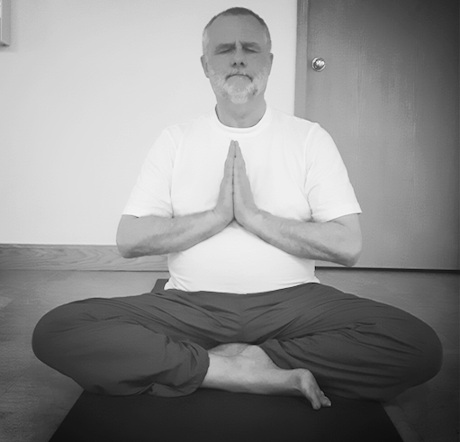 Steve meditating in Easy Pose ( Sukhasana ) at Taiga