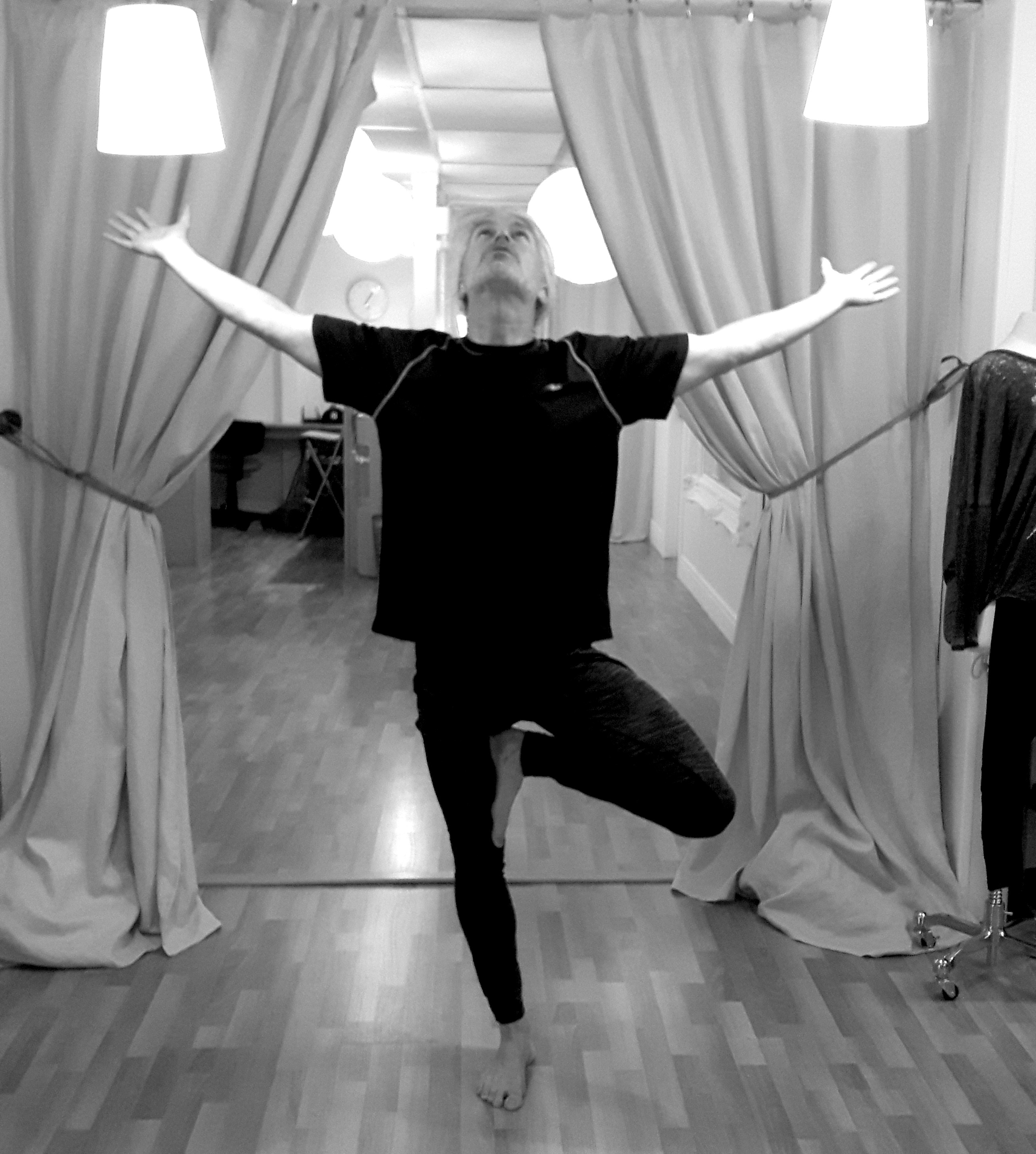 Roland in one of his favourite postures, Tree Pose ( Vrksasana )
