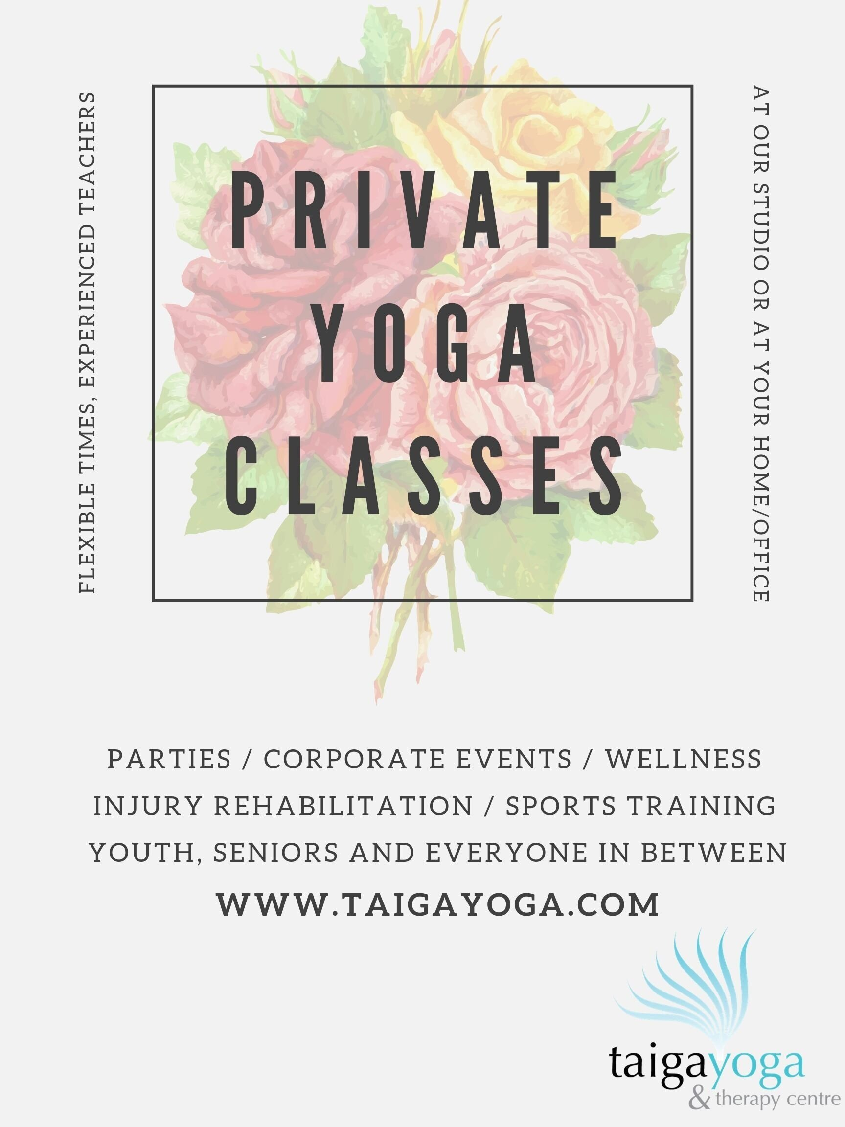 Private Yoga…at our studio or we'll come to you