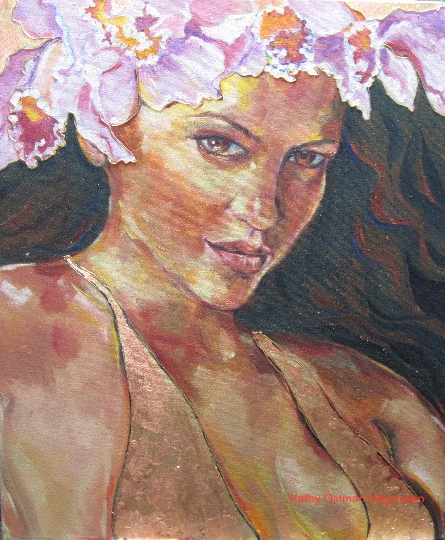 """""""Lavender Orchid"""" 24x20 oil, gold/copper leaf on canvas"""