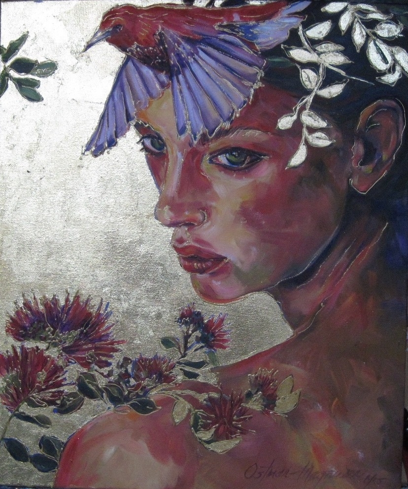 Akepa 2, 24x20 oil, gold leaf on canvas
