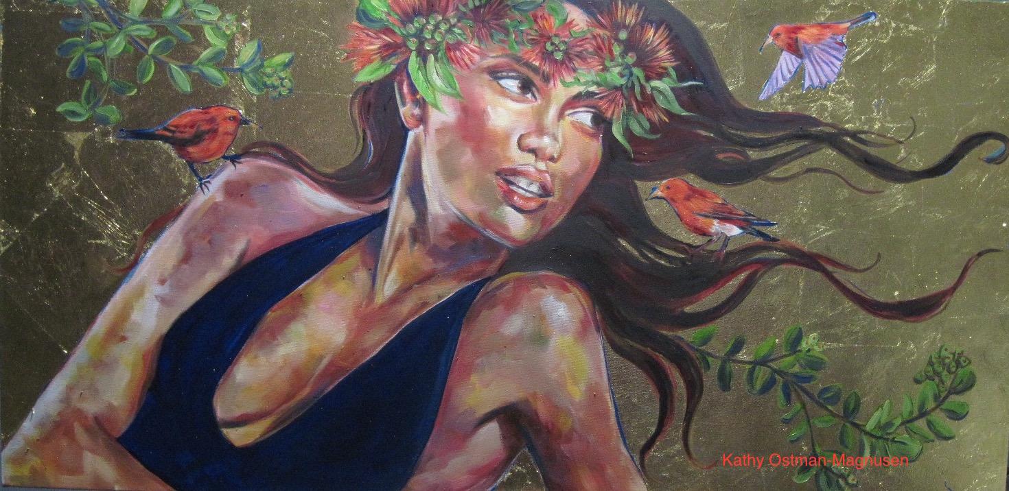 Akepa, 24x20 oil, gold leaf on canvas