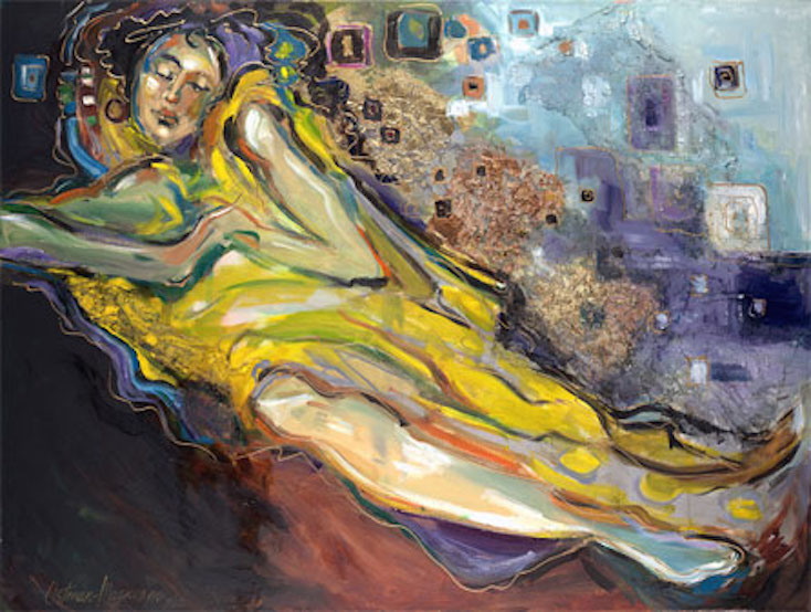 Bed of Dreams 30x40 oil, gold leaf on canvas