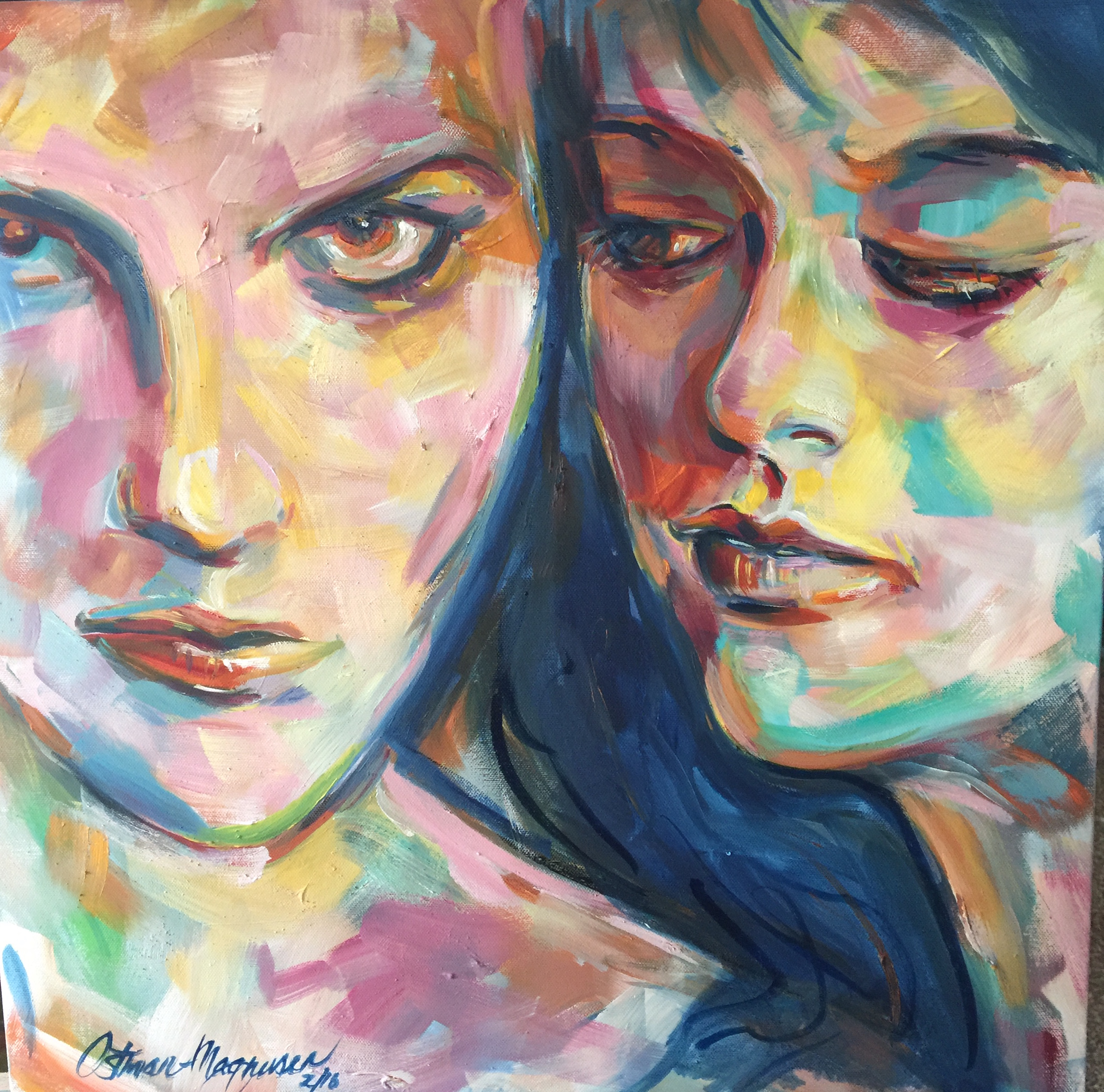 Hope and Lana 24x18 oil on canvas