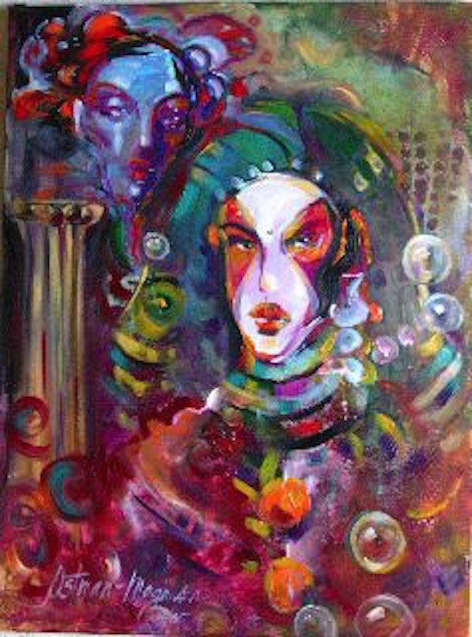 Neon Hosting Pharoh 24x18 oil on canvas