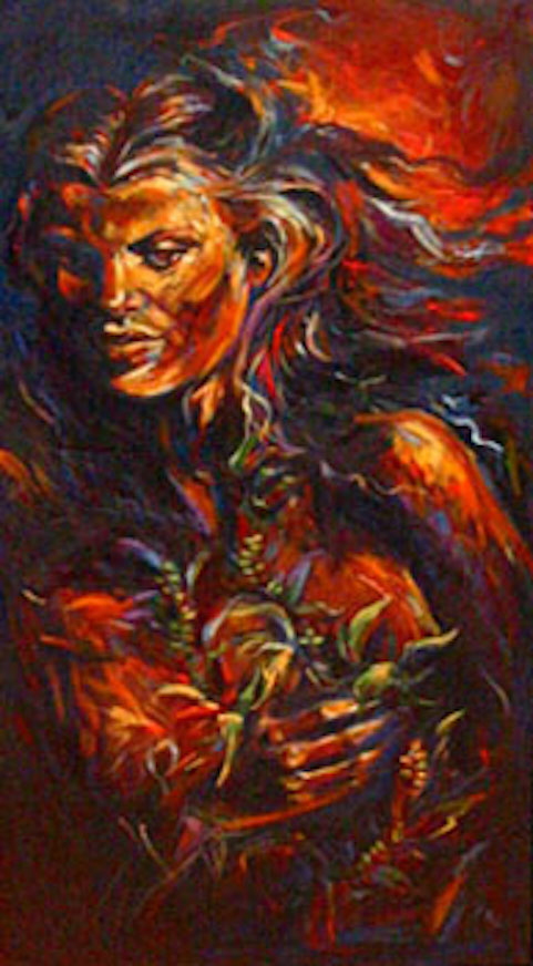 The Lei Giver, 48x24 oil on canvas