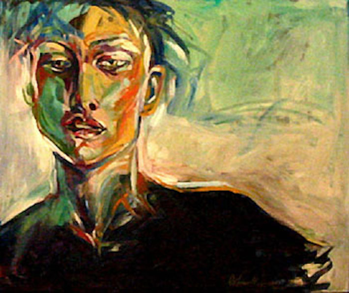 Girl on Phthalo Green, 40x48 oil on canvas