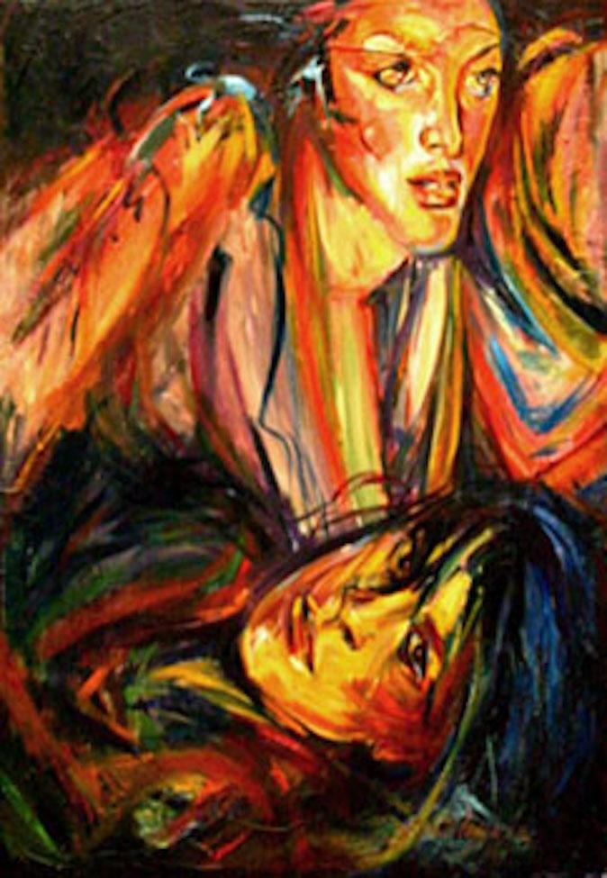 Social Masks, 40x48 oil on canvas