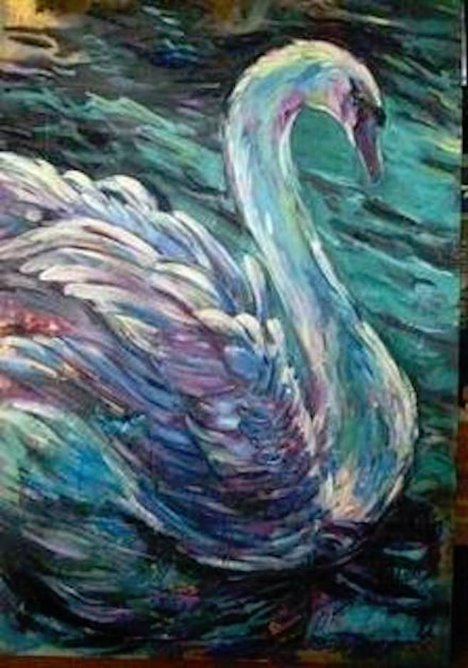 The Swan 36x24 oil, gold leaf on canvas
