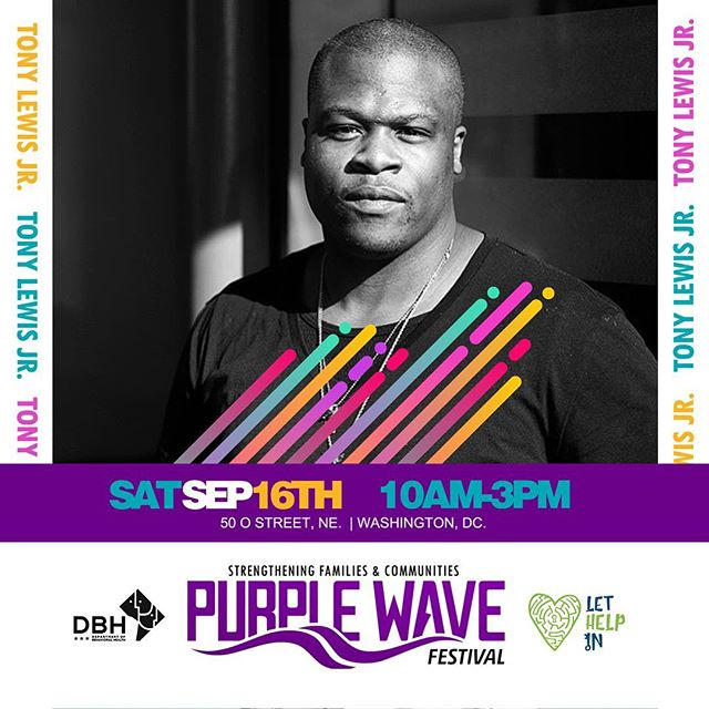 The Purple Wave Festival is focused on strengthening families and communities by removing the stigma associated with mental/behavioral health ..... trauma in our communities has been constant and overt , it is ok to get support ... please join us on September 16th for a day filled with great performances by E.U. , Elle Varner and life changing dialogue about mental health .... thank you DC Department of Behavioral Health for asking me to partner on this very important event .... please show up and join the fun #Itsoktolethelpin #LETHELPIN #Slugg
