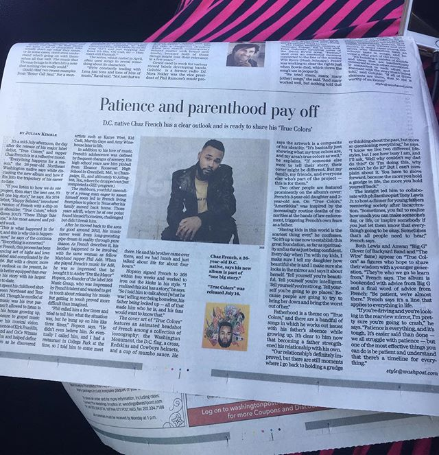 "The @washingtonpost has a feature on @chazfrenchmusic in todays Art & Style Section , I am honored to be mentioned in the piece . The dinner we did for returning citizens on fathers day is a day I will never forget . The record Young World on his album ""True Colors"" we collaborated on is touching hearts and inspiring minds . Salute @drethemayor for his clarity and understanding . S/O @raheem_devaughn for his undying support . #368musicgroup #slugg #truecolors #chazfrench #whereimfromthisnotwhatyoumakethepaperfor #sundaypaper"