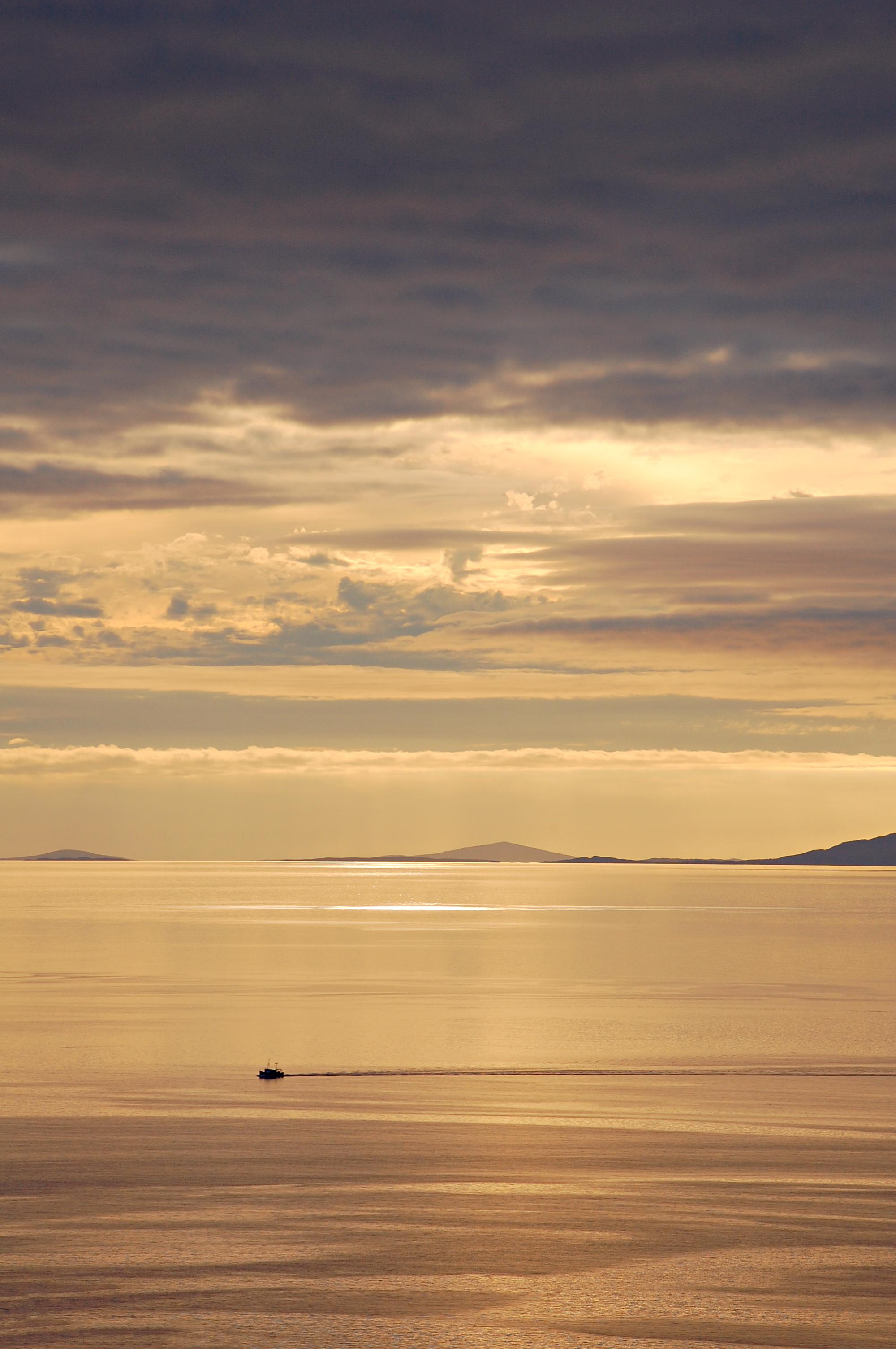 Fishing ship at sundown. (Uig, Isle of Skye, Scotland; Aug 2010)