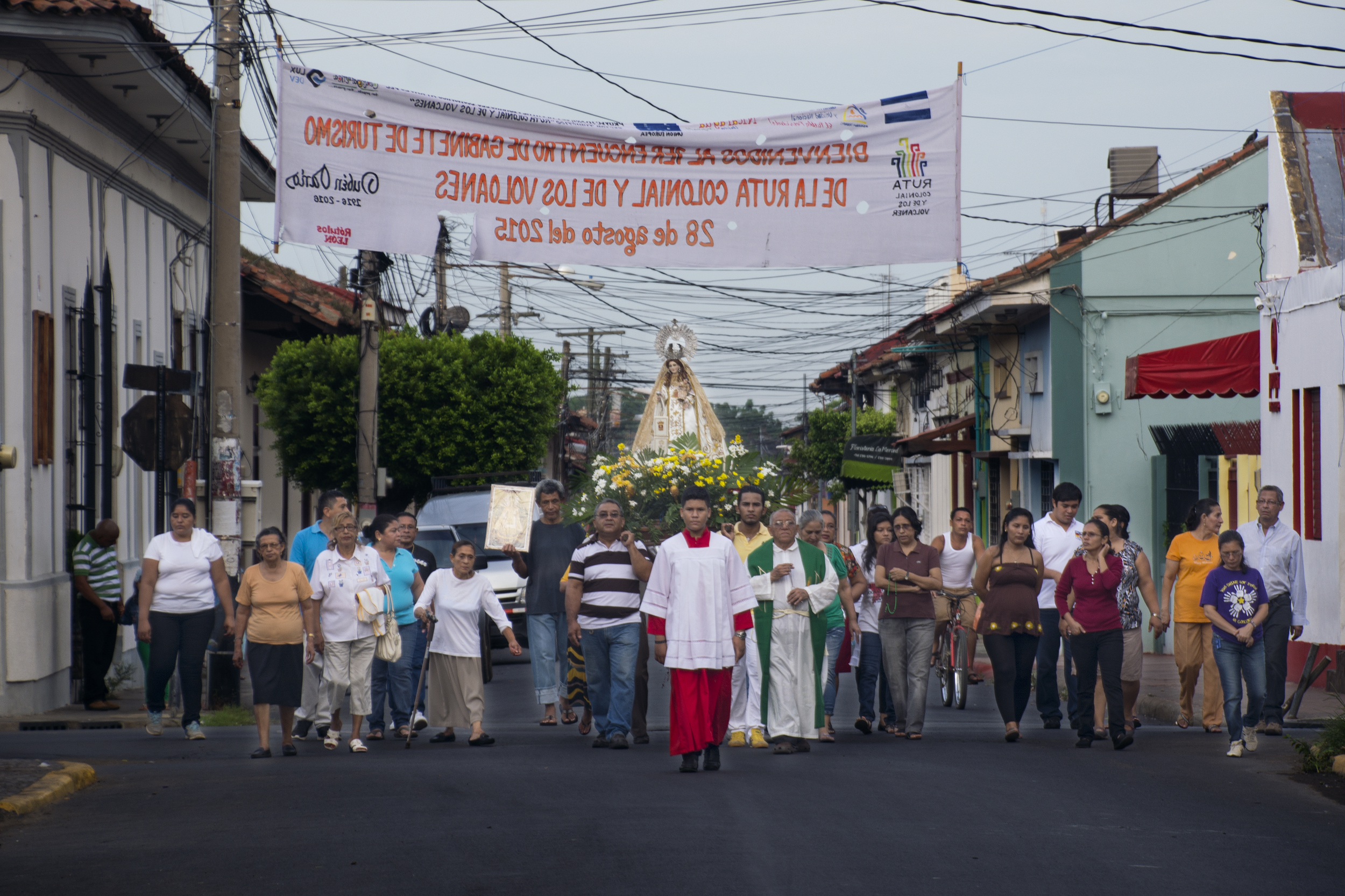 6:00 a.m. procession through the empty streets in honor of the Virgin Mary. (León, Nicaragua; Sep 2015)