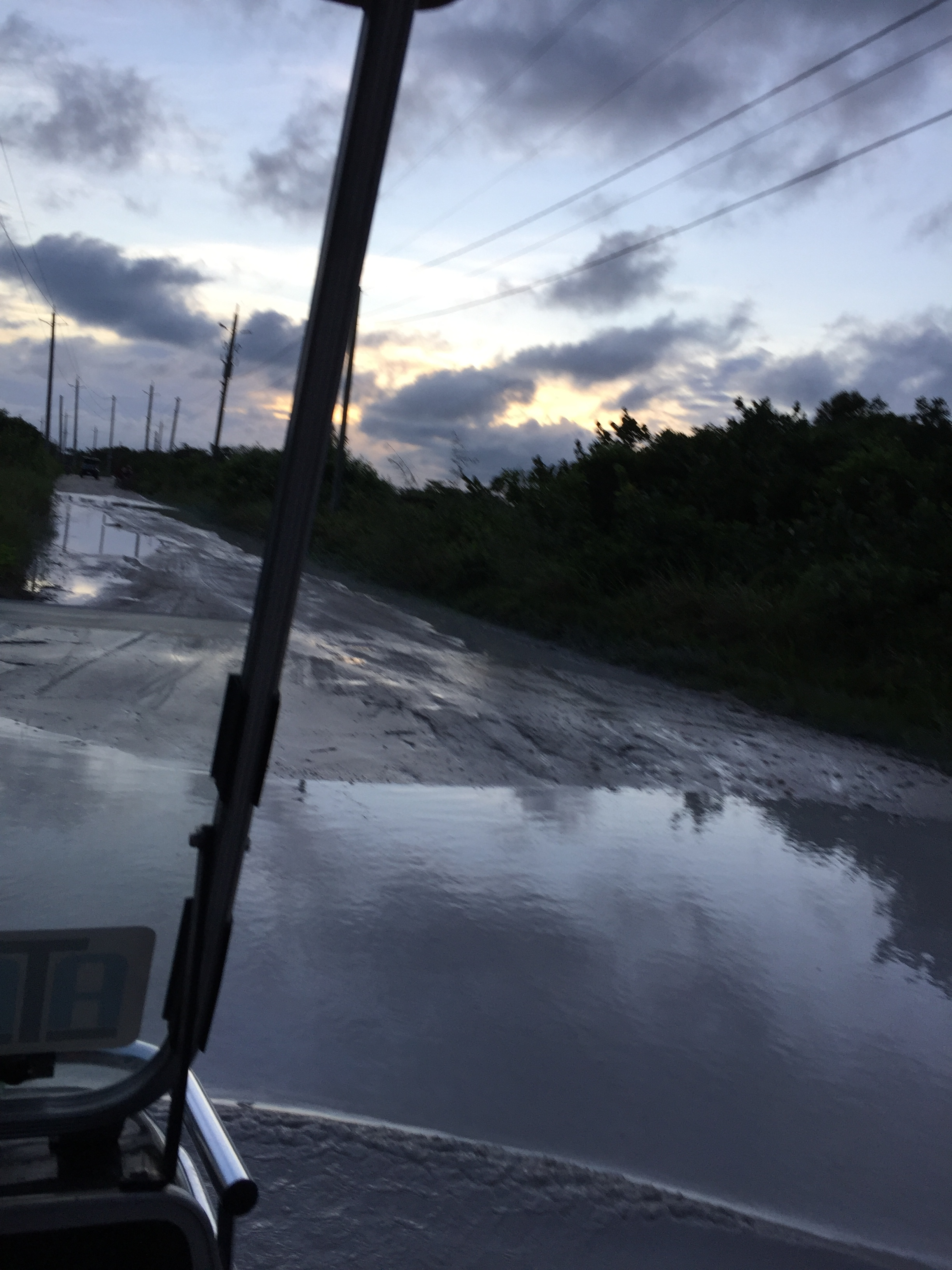 Our house was about 5 miles from town, over roads that looked like this. (Caye Ambergris, Belize; Nov 2016)