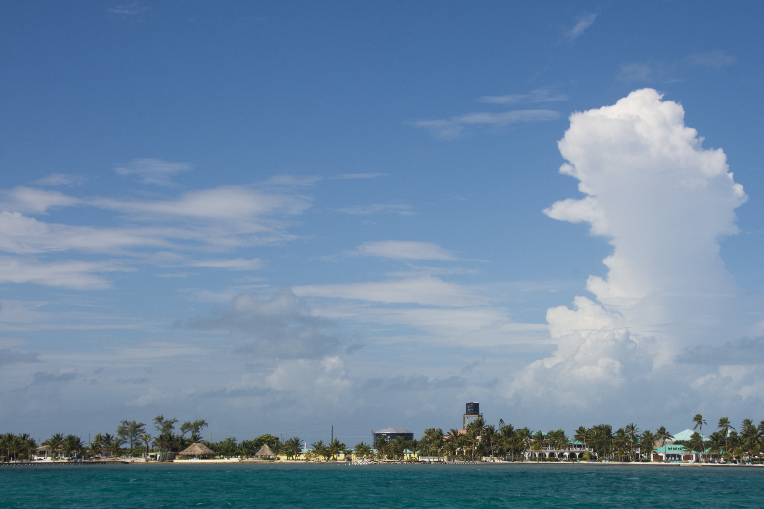 Southern San Pedro from the water taxi (Caye Ambergris, Belize; Nov 2016)