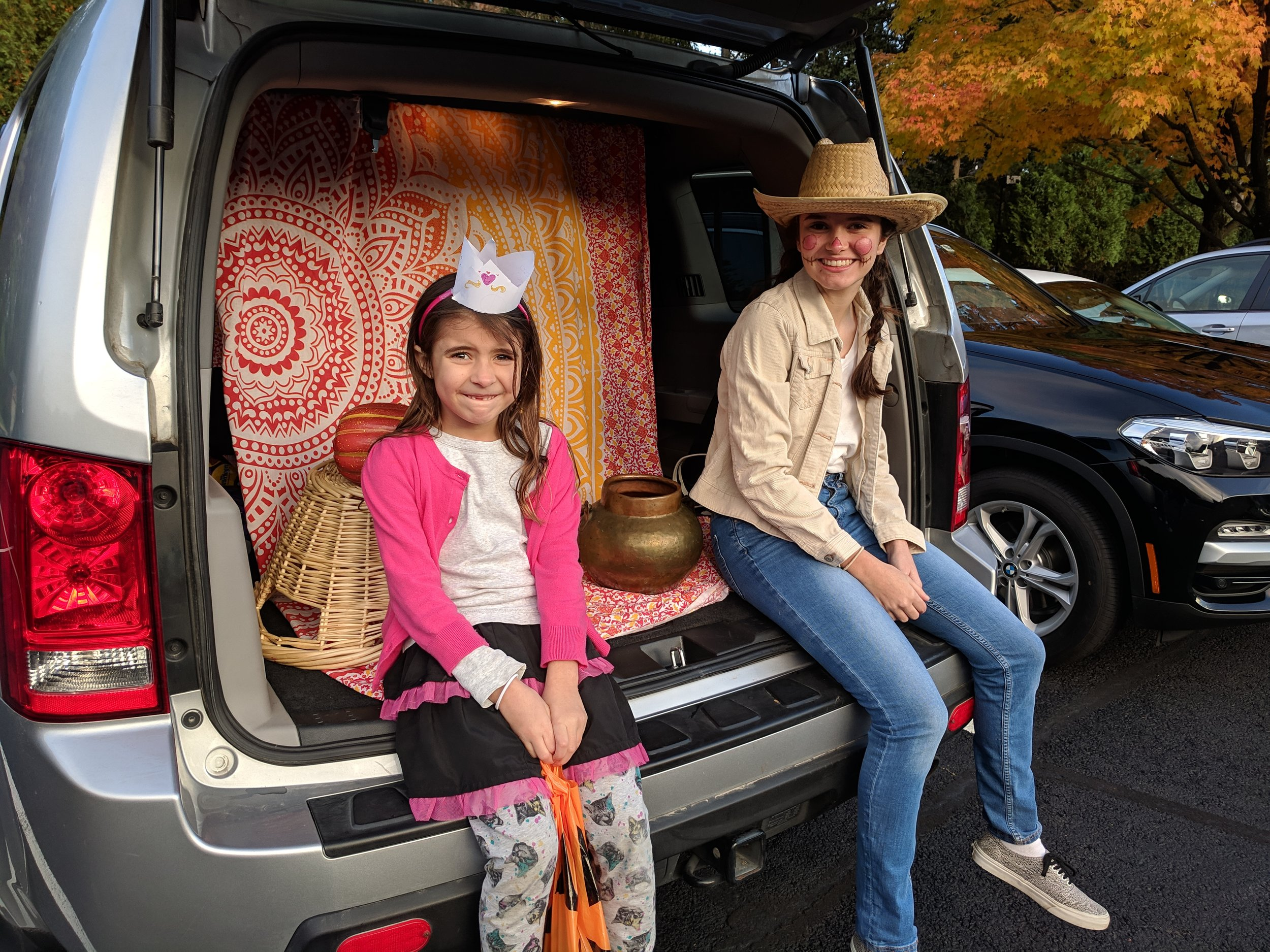 Halloween trunk-or-treat! We are going with the Nebraska/India/Egyptian theme that was all the rage this year. (Reston, Virginia; Oct 2018)