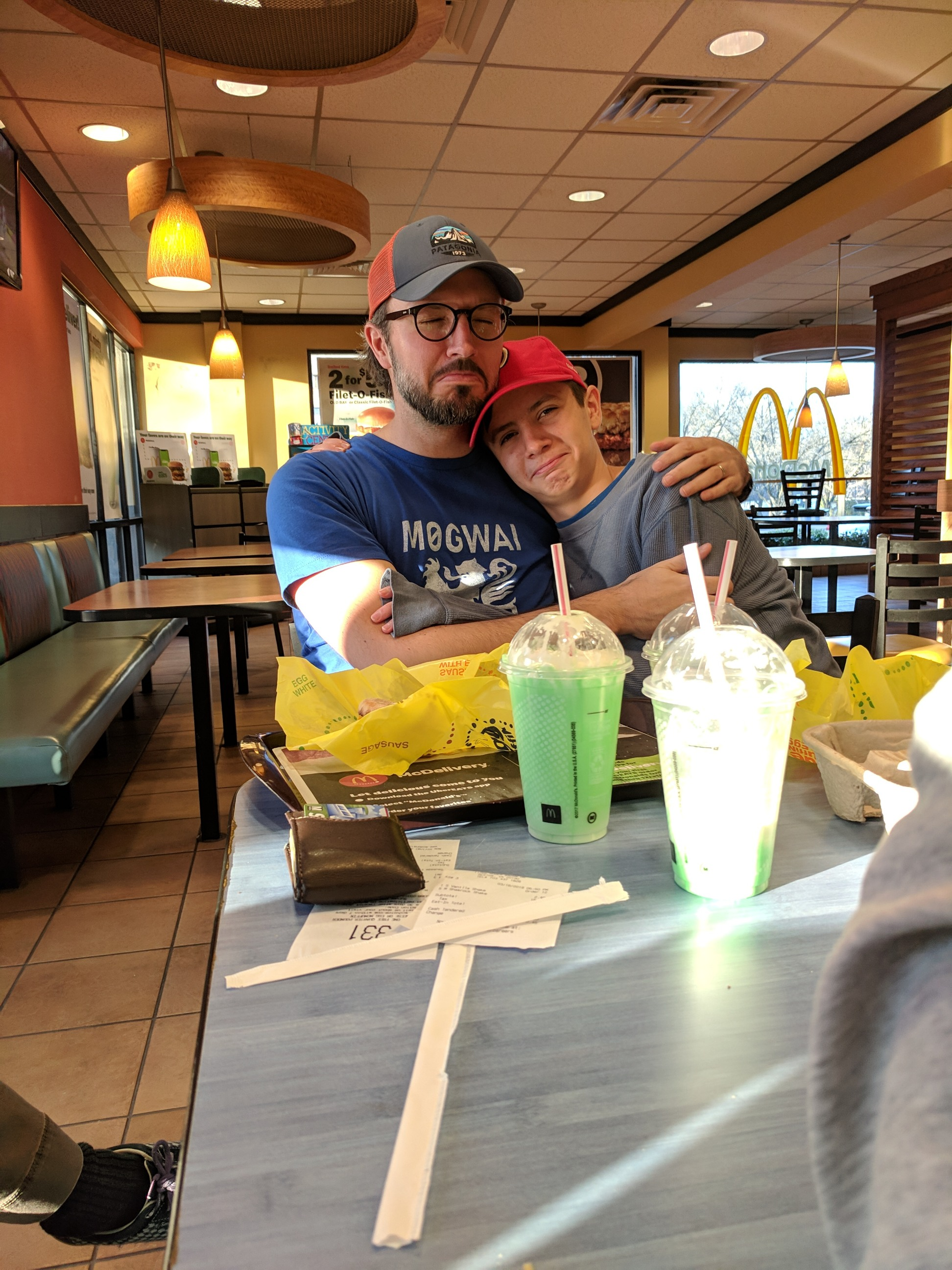 Sometimes guys have to stick together. Like after you waste your money on nappy McDonald's shamrock shakes. (Reston, Virginia; Mar 2019)