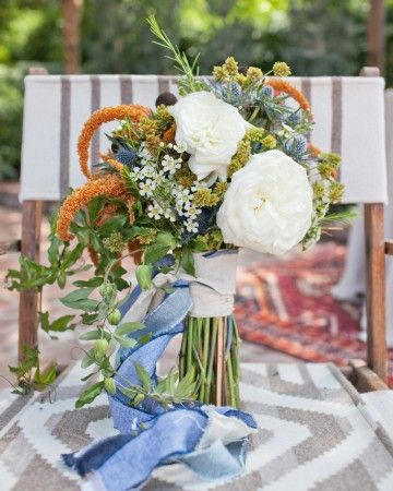 bouquet wrapped in chambray ribbon chambray wedding inspiration.jpg